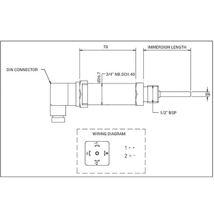 Pt100 RTD Sensor with Integral 4-20mA Transmitter
